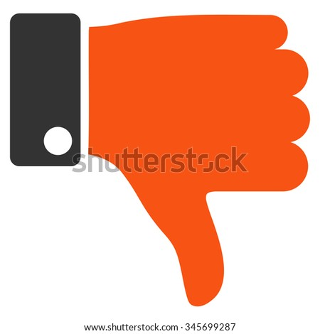 Thumb Down vector icon. Style is bicolor flat symbol, orange and gray colors, rounded angles, white background. - stock vector