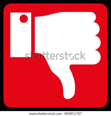 Thumb Down vector icon symbol. Image style is bicolor flat thumb down icon symbol drawn on a rounded square with red and white colors. - stock vector