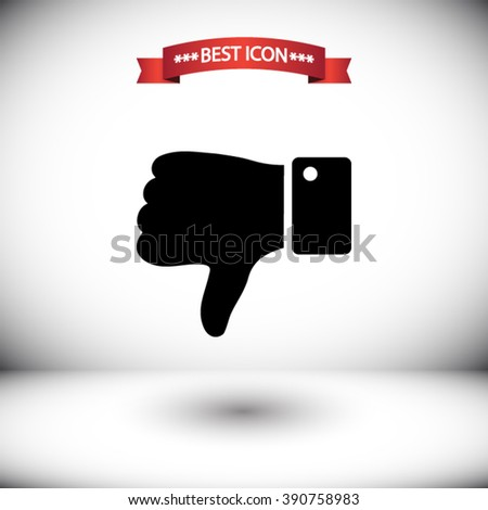 Thumb down vector icon. Thumb down icon under the red ribbon. Shadow under Thumb down vector icons. Thumb down icon on gray background. Thumb down icon on the background of the room. - stock vector