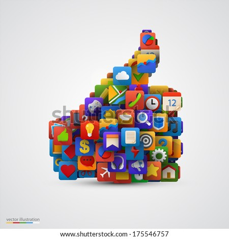 Thumb silhouette with many application icons. Yes symbol. Social multimedia. Ok application icon. Vector illustration - stock vector