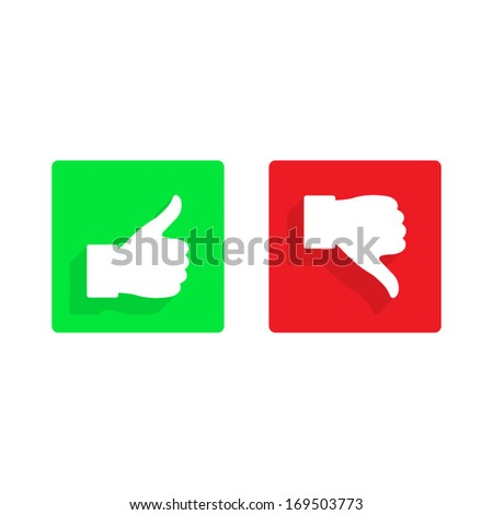 thumb up and down flat icon - stock vector