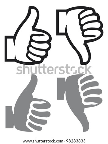thumb up and down gesture (like and dislike) - stock vector