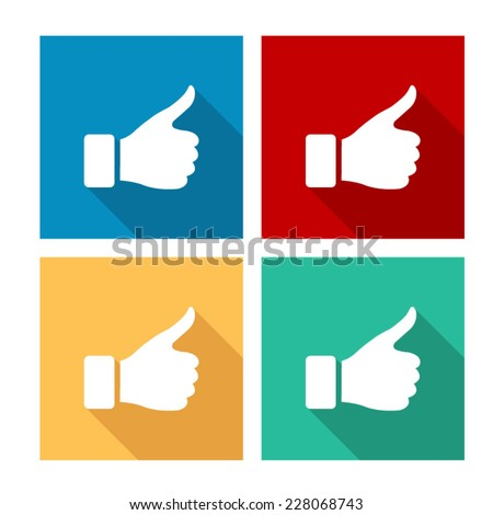 thumb up gesture  - flat icon with long shadow - stock vector