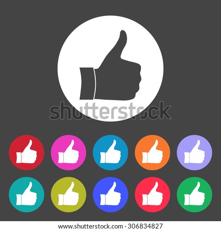 Thumb up gesture. Set of varicolored icons. - stock vector