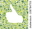 Thumb up hand over Go green icons texture background  Vector file layered for easy manipulation and custom coloring - stock vector