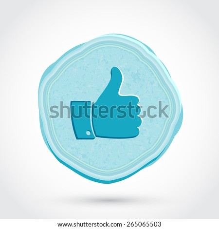 Thumb up icon. Blue icon in vintage style. Vector illustration - stock vector