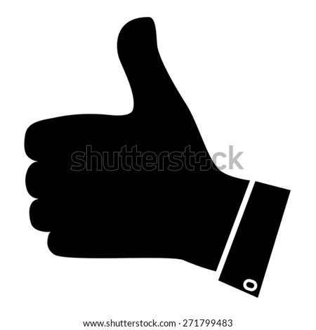Thumb up icon. Hand gesture. Black and white - stock vector