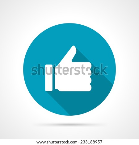 Thumb up icon with long shadow vector flat design element - stock vector