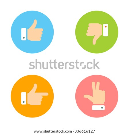 Thumb Up, Thumb Down, Peace Hand, Forefinger Icons Set. Social Network Vector Icons for App and Website. Like, Dislike Flat Signs.   - stock vector
