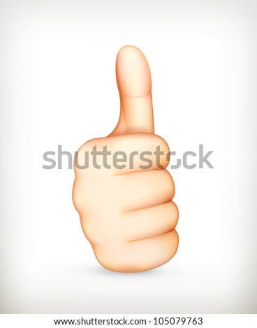 Thumb up, vector - stock vector