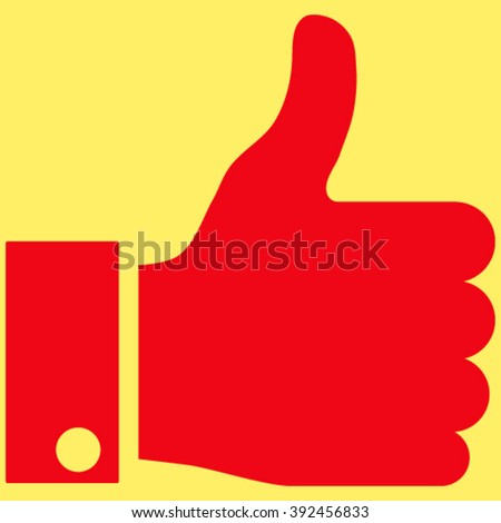 Thumb Up vector icon. Image style is flat thumb up pictogram symbol drawn with red color on a yellow background. - stock vector
