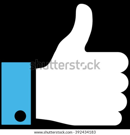 Thumb Up vector icon. Picture style is bicolor flat thumb up icon drawn with blue and white colors on a black background. - stock vector