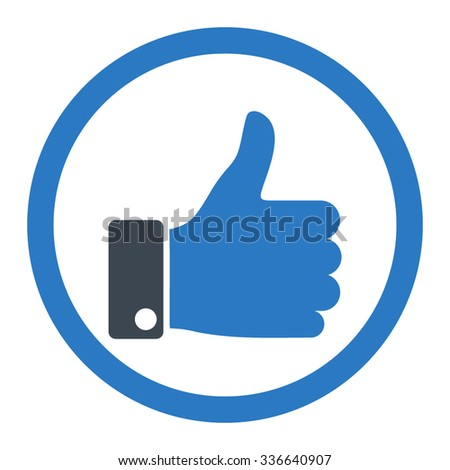 Thumb Up vector icon. Style is bicolor flat rounded symbol, smooth blue colors, rounded angles, white background. - stock vector