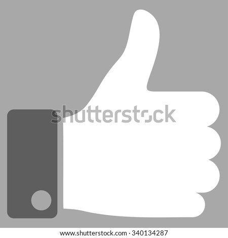 Thumb Up vector icon. Style is bicolor flat symbol, dark gray and white colors, rounded angles, silver background. - stock vector