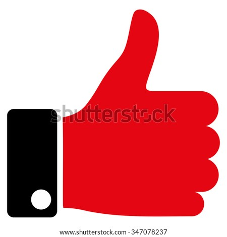 Thumb Up vector icon. Style is bicolor flat symbol, intensive red and black colors, rounded angles, white background. - stock vector