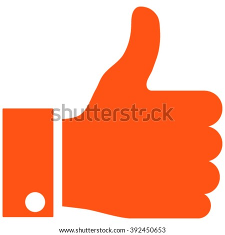 Thumb Up vector icon. Style is flat icon symbol, orange color, white background. - stock vector