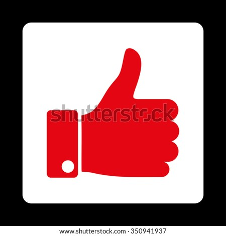 Thumb Up vector icon. Style is flat rounded square button, red and white colors, black background. - stock vector
