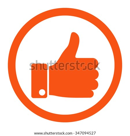 Thumb Up vector icon. Style is flat rounded symbol, orange color, rounded angles, white background. - stock vector