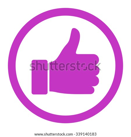 Thumb Up vector icon. Style is flat rounded symbol, violet color, rounded angles, white background. - stock vector