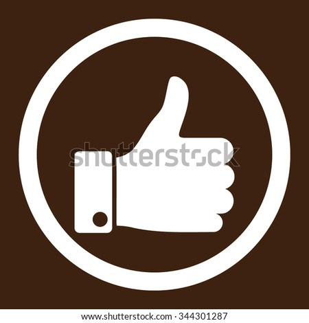 Thumb Up vector icon. Style is flat rounded symbol, white color, rounded angles, brown background. - stock vector
