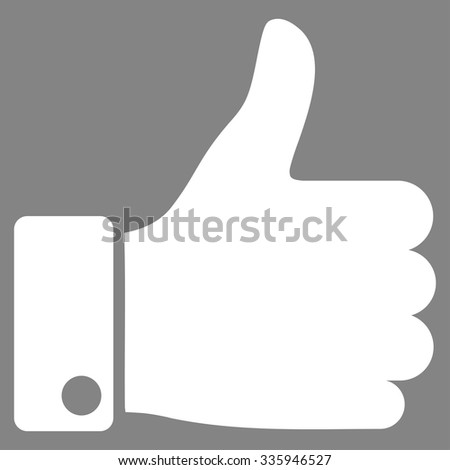 Thumb Up vector icon. Style is flat symbol, white color, rounded angles, gray background. - stock vector