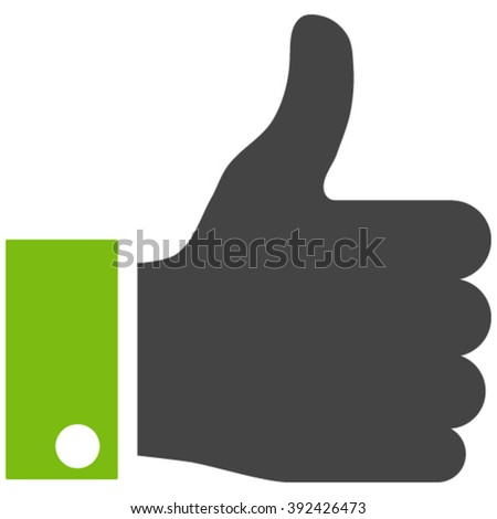 Thumb Up vector icon. Thumb Up icon symbol. Thumb Up icon image. Thumb Up icon picture. Thumb Up pictogram. Flat eco green and gray thumb up icon. Isolated thumb up icon graphic. - stock vector