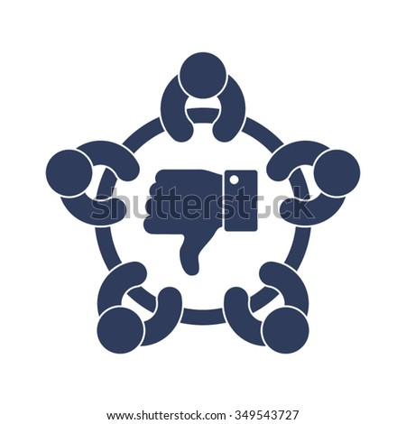 Thumbs Down Business Meeting Discussion Brainstorming Disagreement Disapprove Pessimism Objection Partners People Together Vector Icon - stock vector