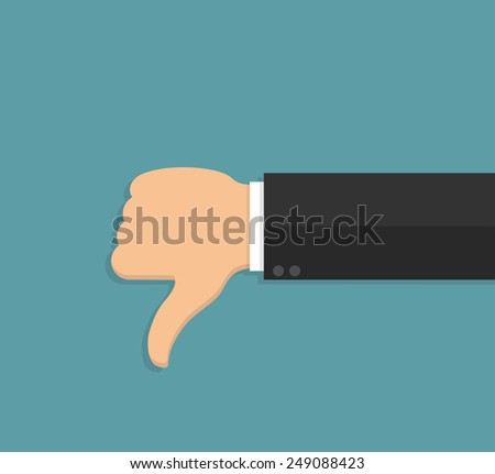 Thumbs down hand sign in flat style - stock vector
