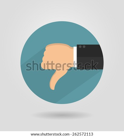Thumbs down icon in flat style with long shadow - stock vector