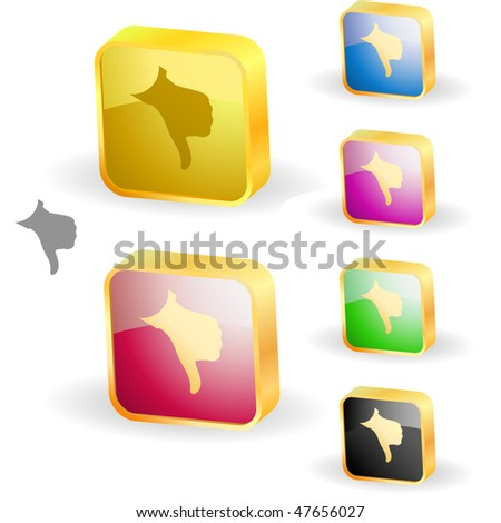 Thumbs down. Set of design icons. - stock vector