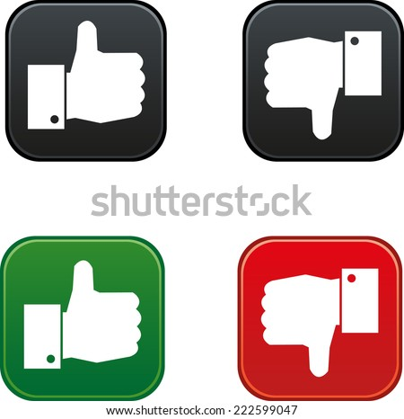thumbs up and down buttons - stock vector