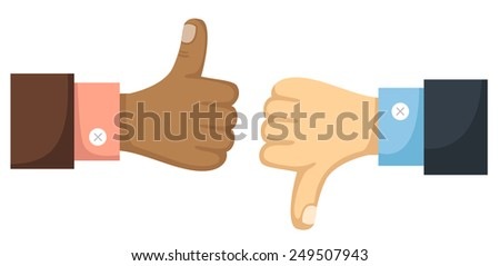 Thumbs up and down vector - stock vector
