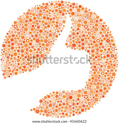 Thumbs up. Floral illustration. - stock vector