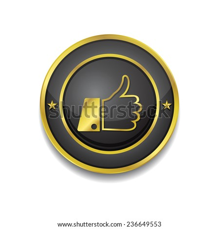 Thumbs Up Gold Vector Icon Button - stock vector