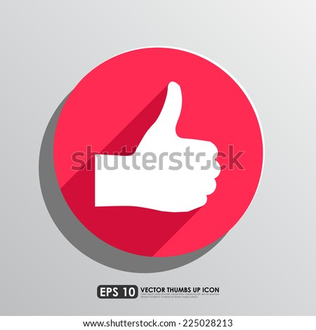 Thumbs up icon in red circle background - stock vector