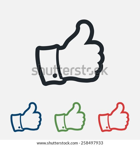 Thumbs Up icon , vector illustration. Flat design style   - stock vector