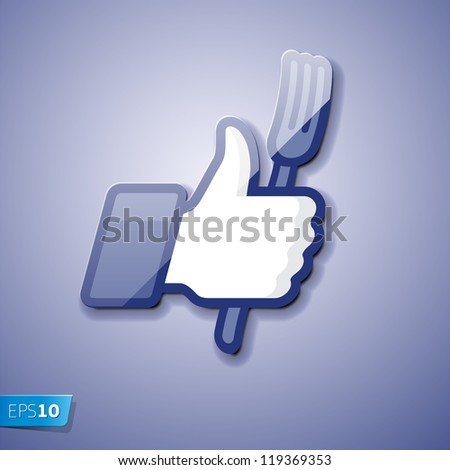 Thumbs Up icon with fork, vector Eps 10 illustration - stock vector