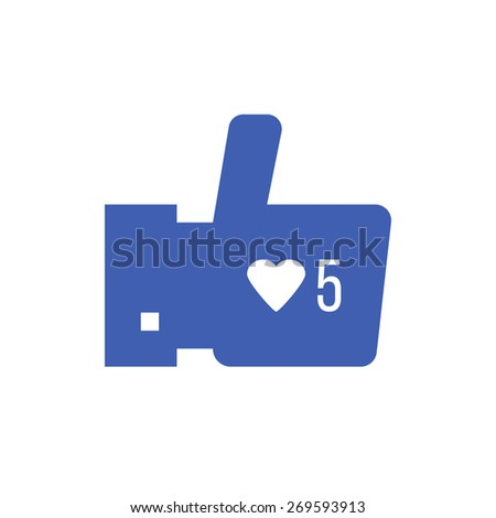 thumbs up icon with like counter notification. concept of satisfaction, confirmation, rating, follow mark, website interface elements, voting. flat style trendy modern logo design vector illustration - stock vector