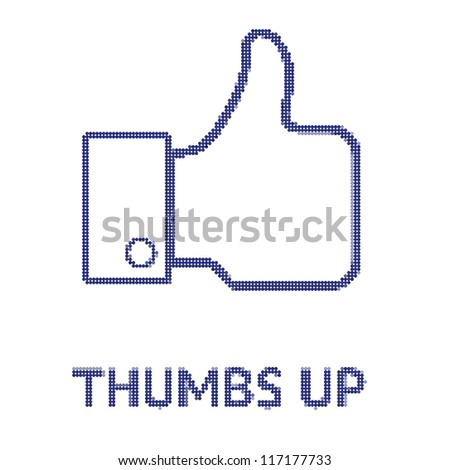Thumbs up in dots - stock vector