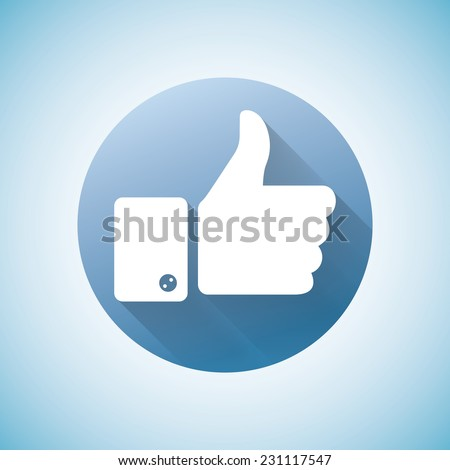 Thumbs up like modern icon, flat shadow - stock vector