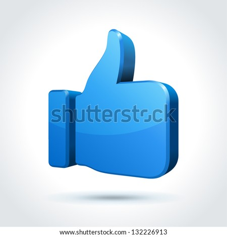 Thumbs up or like button. Vector illustration. - stock vector