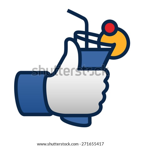 thumbs up symbol icon with cocktail, vector illustration.  - stock vector