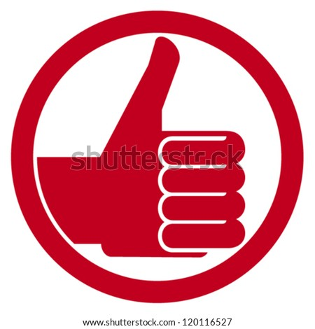 thumbs up symbol (vector hand showing thumbs up, human hand thumbs up, thumbs up badge, like icon, like symbol) - stock vector