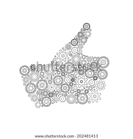 Thumbs Up Symbol, Which is Composed of Black Gears. Vector illustration - stock vector