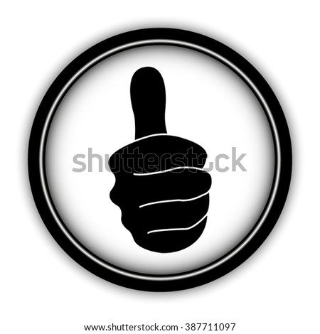 thumbs up - vector icon; round  button with shadow - stock vector