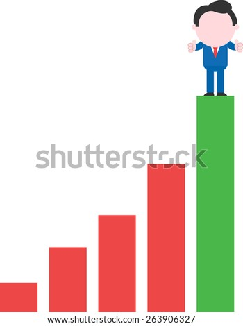 Thumbs-up victorious faceless cartoon businessman standing on top rung of bar chart - stock vector