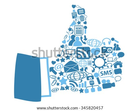 thumbs up with blue icons - stock vector