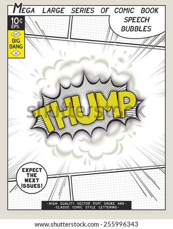 Thump. Explosion in comic style with lettering and realistic puffs smoke. 3D vector pop art speech bubble - stock vector