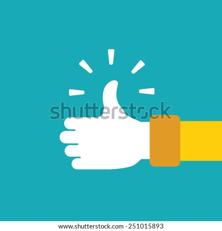 Thump up vector sign in flat style - stock vector