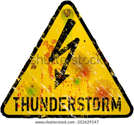 thunderstorm warning sign, heavy weathered, vector eps 10 - stock vector